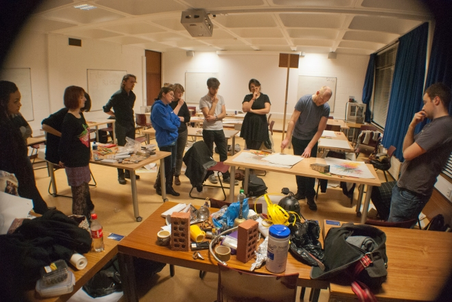 UCD Artist in Residence Dominic Thorpe, working with students from the Visual Arts Society (Drawsoc), Spring 2015