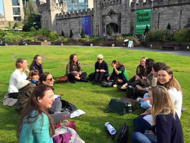 A few of our 23 new MA students in Arts Mgmt & Cult. Policy, enjoying the sunshine at the Chester Beatty Library